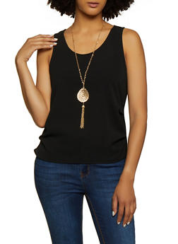 Ruched Crepe Knit Tank Top with Necklace - 3001058751949