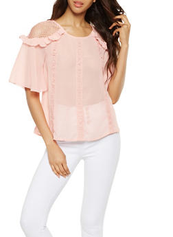 Ruffled Crochet Trim Blouse - 3001058752097
