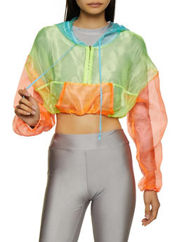 Color Block Organza Cropped Windbreaker - 3001058753642