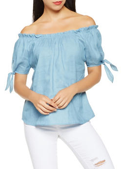 Chambray Off the Shoulder Top - 3001058755811