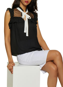 Contrast Tie Neck Sleeveless Blouse - 3001074290106