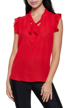 Ruffle Detail Tie Neck Blouse - 3001074290107