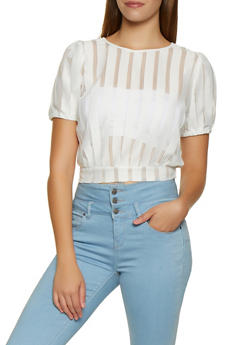 Shadow Striped Tie Back Top - 3001074290116