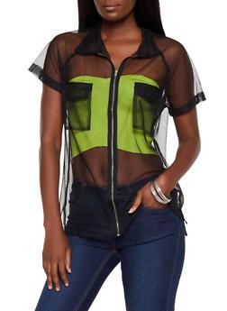 Mesh Zip Front Shirt - 3001074290119