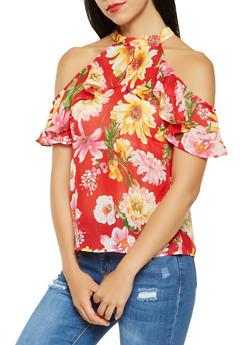 Sheer Floral Cold Shoulder Top - 3001074290135
