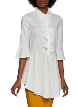 Ruffled Peplum Shirt - 3001074290147