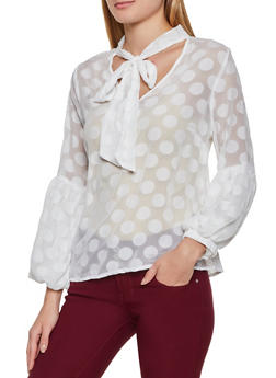 Polka Dot Bubble Sleeve Blouse - 3001074290191