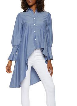 Asymmetrical High Low Shirt - 3001074290313