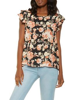 Floral Flutter Sleeve Blouse - 3001074290318