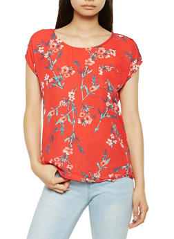 Floral Tabbed Sleeve Blouse - 3001074290319