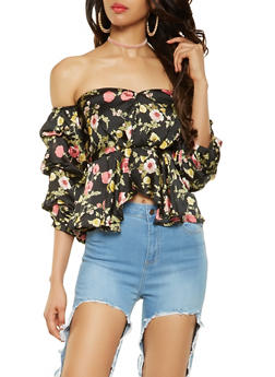 Ruffled Floral Off the Shoulder Peplum Top - 3001074290339