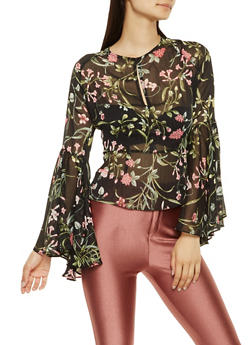 Floral Open Back Sheer Top - 3001074290392