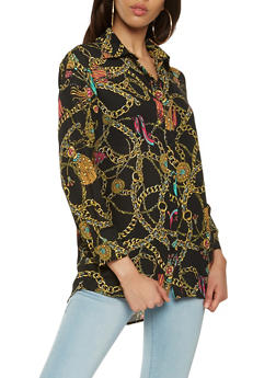 Chain Link Printed Button Front Shirt - 3001074290412