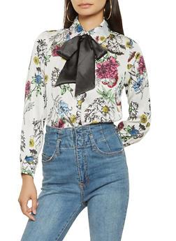 Floral Button Front Satin Shirt - 3001074290413
