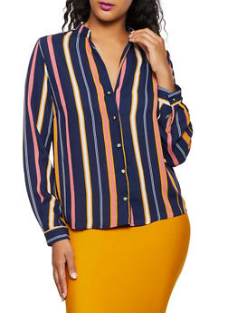 Striped Metallic Button Shirt - 3001074290426