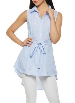 Striped High Low Tunic Shirt - 3001074290467