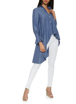 Chambray High Low Shirt - 3001074290473