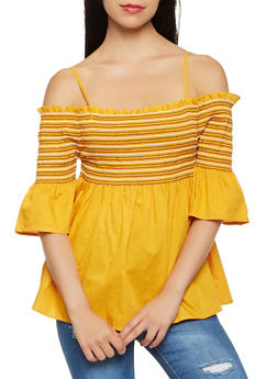 Off the Shoulder Babydoll Top - 3001074290476