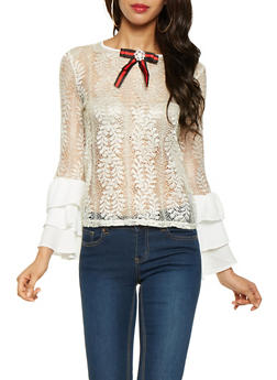 Lace Bell Sleeve Top - 3001074291141