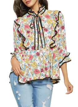 Ruffled Floral Button Front Shirt - 3001074291145