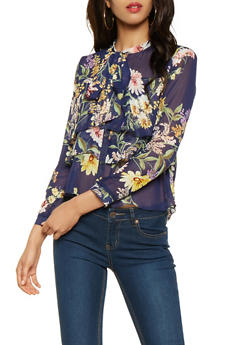 Sheer Floral Tiered Blouse - 3001074291161