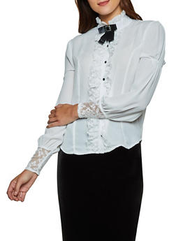 Lace Detail Blouse - 3001074291203