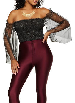 Glitter Mesh Smocked Off the Shoulder Top - 3001074292074