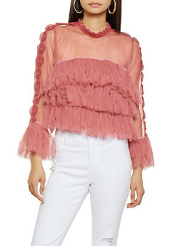 Crochet Tiered Tulle Top - 3001074292088