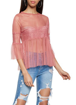 Bell Sleeve Mesh Baby Doll Top - 3001074292089
