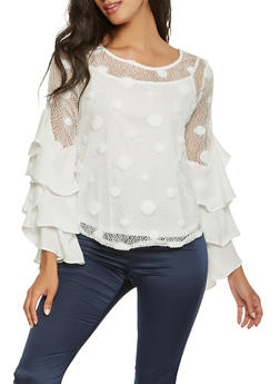Polka Dot Lace Tiered Sleeve Top - 3001074292110
