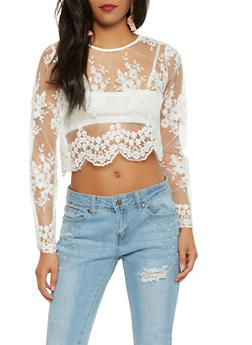 Sheer Embroidered Crop Top - 3001074292120