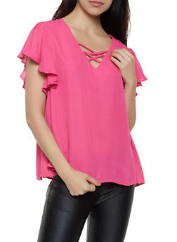 Caged Neck Flutter Sleeve Blouse - 3001074292403