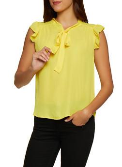 Flutter Sleeve Tie Neck Blouse - 3001074292410