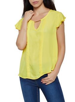 Pleated Flutter Sleeve Blouse - 3001074292411