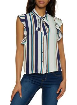 Striped Tie Neck Sleeveless Blouse - 3001074292878