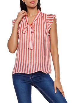 Printed Tie Neck Cap Sleeve Blouse - 3001074293017