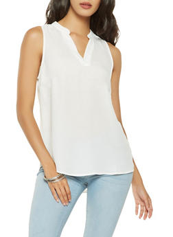 Solid Sleeveless Blouse - 3001074293102