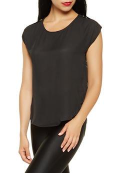 Faux Button Shoulder Detail Blouse - 3001074293104