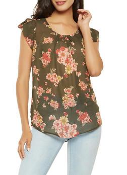 Printed Petal Sleeve Blouse - 3001074293109