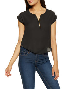 Zip Neck Blouse - 3001074293110