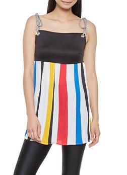 Multi Stripe Pleated Babydoll Top - 3001074293116