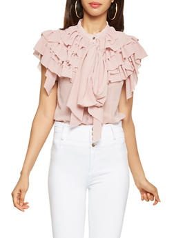 Ruffled Tie Neck Blouse - 3001074293117
