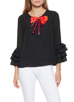 Tiered Ruffle Sleeve Blouse - 3001074293119