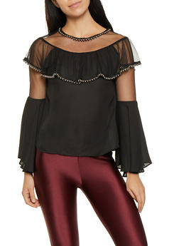 Faux Pearl Studded Blouse - 3001074293123