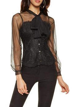 Mesh Trim Button Front Lace Top - 3001074293125