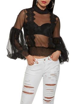 Embroidered Mesh Top - BLACK - 3001074293129