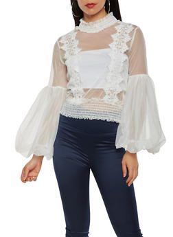 Embroidered Mesh Top - 3001074293129