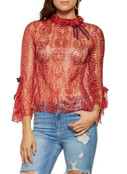 Metallic Lace Open Back Blouse - 3001074293131