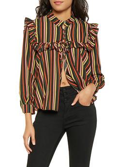 Striped Half Button Blouse - 3001074293138