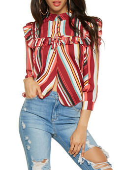 Striped Half Button Blouse - 3001074293138